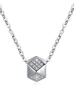 Shiny Rhinestone Rhombus Pendant Necklace - Silver