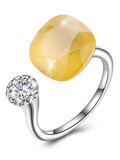 Vintage Crystal Rhinestone Silver Cuff Ring - Yellow