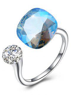 Vintage Crystal Rhinestone Silver Cuff Ring - Light Sky Blue