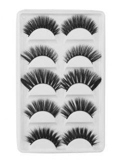 5Pcs Natural Curling Volumizing Mix Handmade Fake Eyelashes - Black