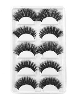 5Pcs Combo Different Mix Natural Curling Handmade False Eyelashes - Black