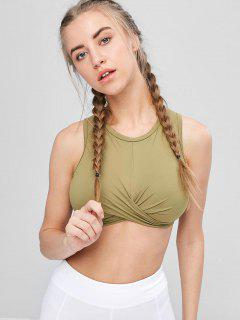 Tie Back High Neck Wrap Sports Bra - Army Green M