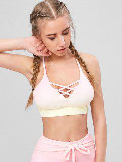 Strappy Criss Cross Ombre Sports Bra - Multi L
