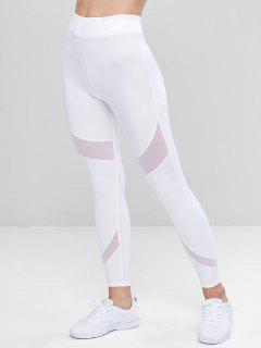 Sports Mesh Insert Leggings - White L
