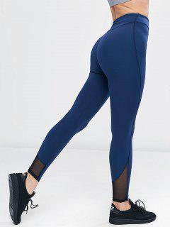 Mesh Panel High Waisted Sports Leggings - Blue Jay L