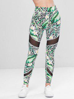 Leaves Leopard Gym Leggings - Green M
