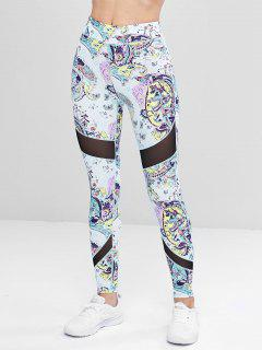 Sports Mesh Panel Printed Leggings - Multi L