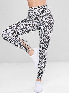 Lace-up Leopard Sports Leggings - Leopard M