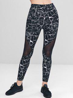 Marble Print Mesh Panel Leggings - Black L