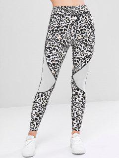 Mesh Panel Leopard Print Leggins - Leopard L