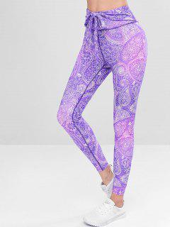 Printted High Waisted Compression Leggings - Purple M