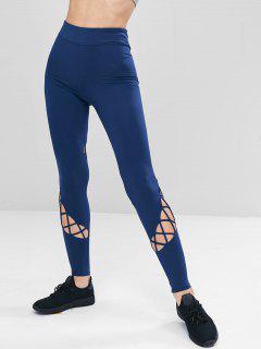 High Waist Lattice Sports Leggings - Cadetblue S