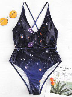 Cross Strap Galaxy High Cut Swimsuit - Black L