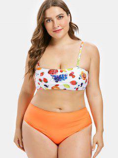 High Cut Plus Size Fruit Print Bikini - Multi L