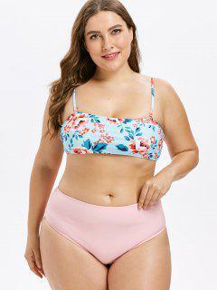 High Cut Plus Size Floral Bikini - Light Sky Blue 3x
