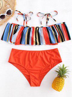 Tie Shoulder Plus Size Striped Flounce Bikini - Multi 2x