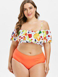 Flounce Plus Size Fruit Print Bikini - Multi 2x