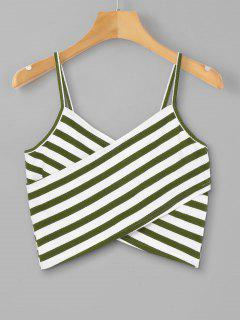 Striped Overlap Cami Top - Army Green M