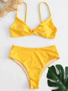 Twist Hoch Tailliertes Bikini-Set - Niedliches Gummi Gelb S