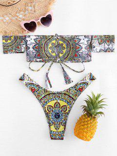 Conjunto De Bikini Estampado Mandala Con Hombros Descubiertos - Multicolor M