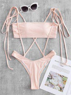Ribbed Suspended Bandeau Swimsuit - Seashell L