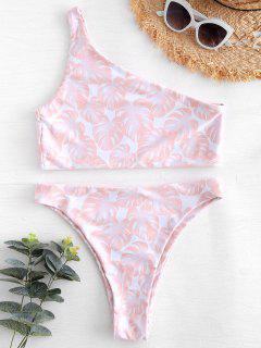 Bikini à Une épaule Coupe Haute Feuilles - Rose Léger  S