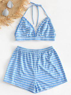 Striped Bralette Top And Shorts Pajama Set - Blue L