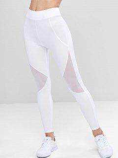 Mesh Panel Sporty Leggings - White L