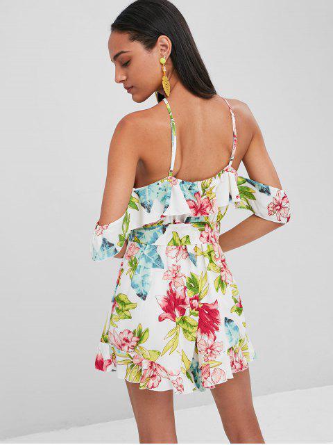 new Floral Print Cami Belted Romper - MULTI L Mobile