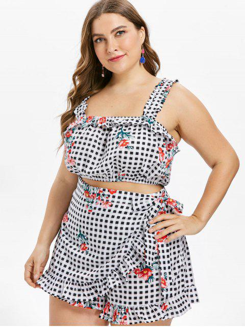 new Plus Size Checked Floral Crop Top - MULTI 4X Mobile