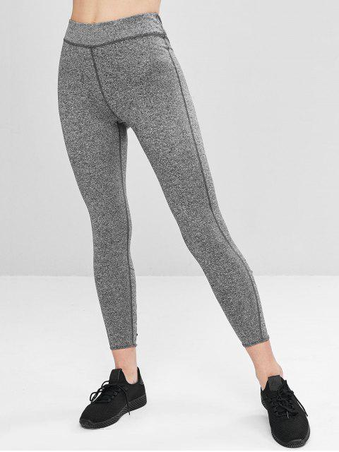 buy Heathered Lace-up Sports Leggings - DARK GRAY S Mobile