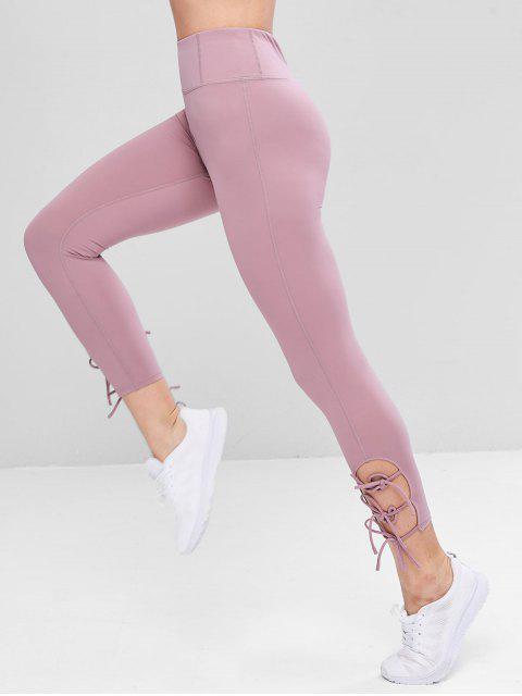 women's Flat Seams Side Tie Tight Yoga Leggings - MAUVE M Mobile