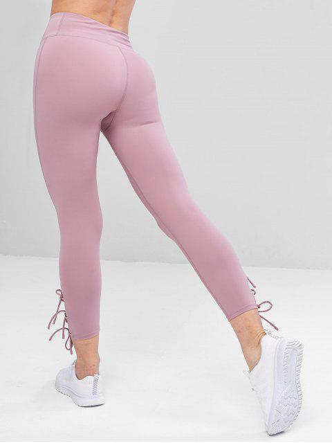 Costuras planas Lazos laterales Yoga ajustados - Color de malva M Mobile