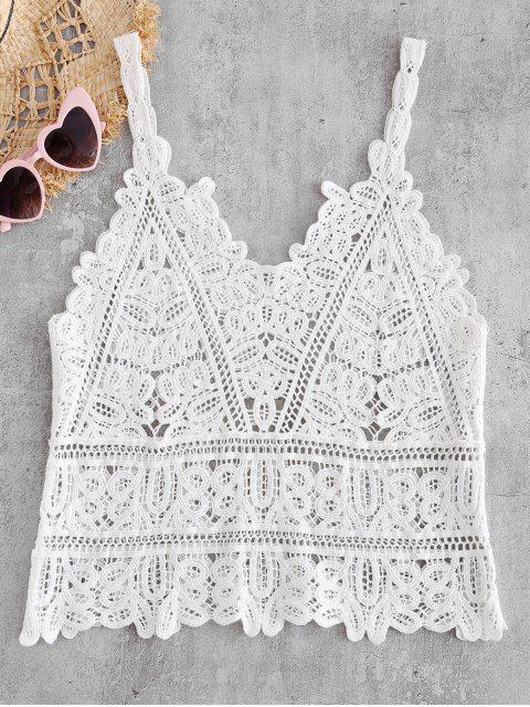 affordable Scallop Crocheted Tank Top - WHITE ONE SIZE Mobile