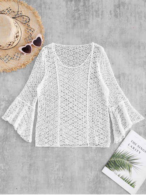womens Flared Cuffs Crocheted Top - WHITE ONE SIZE Mobile