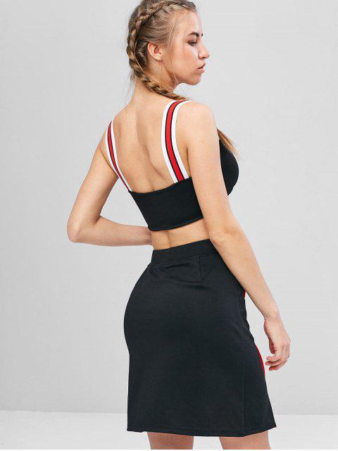 best Contrast Cami Crop Top and Skirt Set - BLACK L Mobile