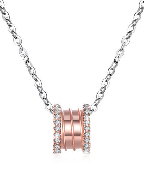 new Rhinestone Inlaid Rose Gold Silver Pendant Necklace - ROSE GOLD  Mobile