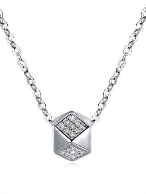 Shiny Strass Rhombus Anhänger Halskette - Silber  Mobile