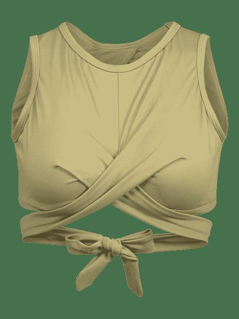 Riemchen Rücken Hoher Ausschnitt Wickel Sport BH - Armeegrün M Mobile