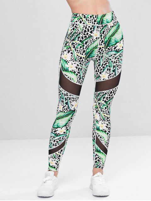 Hojas Leggings de gimnasia de leopardo - Verde M Mobile