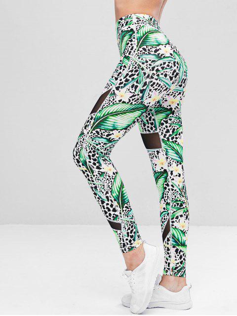 Hojas Leggings de gimnasia de leopardo - Verde S Mobile