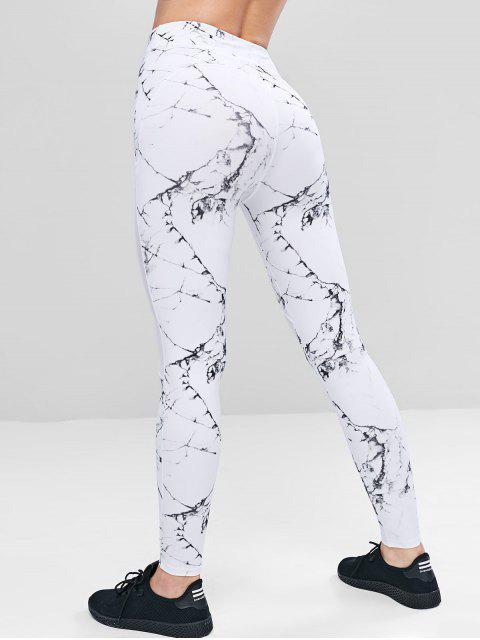 lady Marble Print Mesh Panel Leggings - WHITE M Mobile