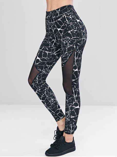 fashion Marble Print Mesh Panel Leggings - BLACK S Mobile