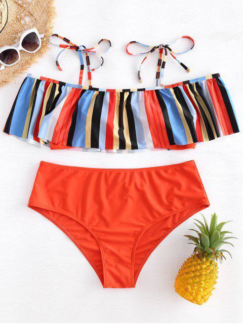 Bikini a rayas con volantes y cuello redondo - Multicolor 2X Mobile