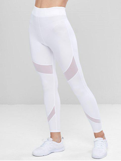 affordable Sports Mesh Insert Leggings - WHITE L Mobile
