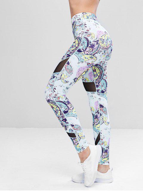 outfit Sports Mesh Panel Printed Leggings - MULTI S Mobile