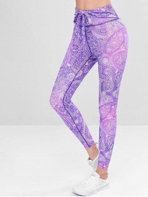 Calzas de compresión de cintura alta estampadas - Púrpura L Mobile
