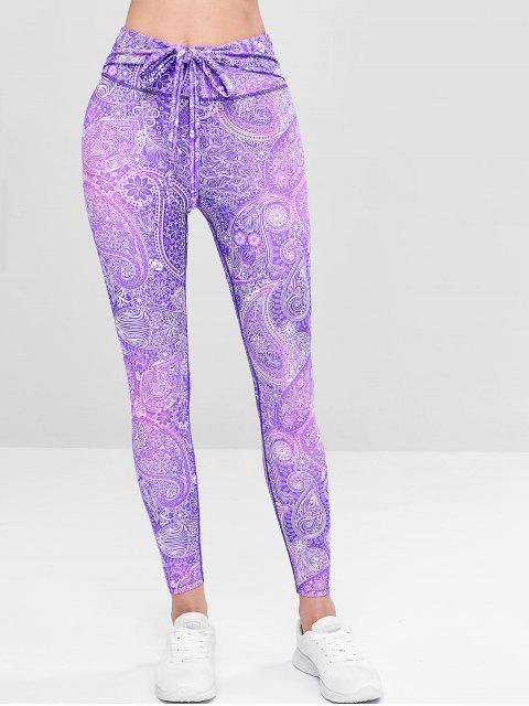 women Printted High Waisted Compression Leggings - PURPLE M Mobile