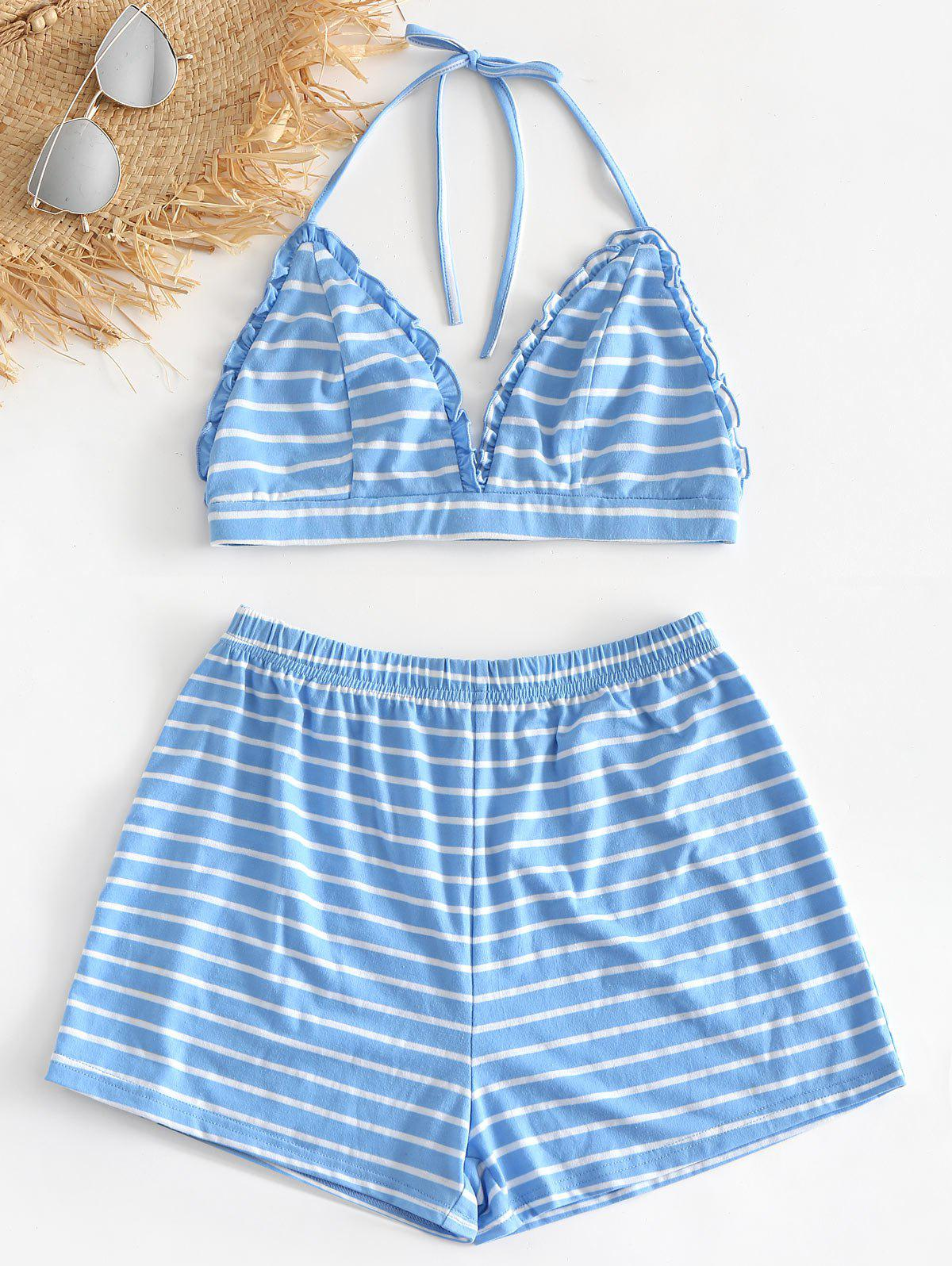 Striped Bralette Top and Shorts Pajama Set