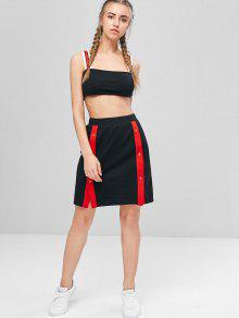 5194d5e5205 64% OFF  2019 Contrast Cami Crop Top And Skirt Set In BLACK